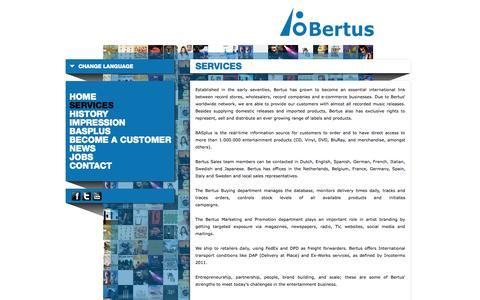 Screenshot of Services Page bertus.com - Services - Bertus Groothandel en Distributie - captured Oct. 5, 2014