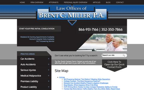 Screenshot of Site Map Page bcmillerlaw.com - Site Map | Law Offices of Brent C. Miller, P.A. | Tavares, Florida - captured Oct. 2, 2014