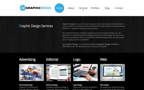 Screenshot of Home Page upgraphicdesign.com - Graphic Design | Services | Editorial, Logo, Web and More - captured Oct. 6, 2014