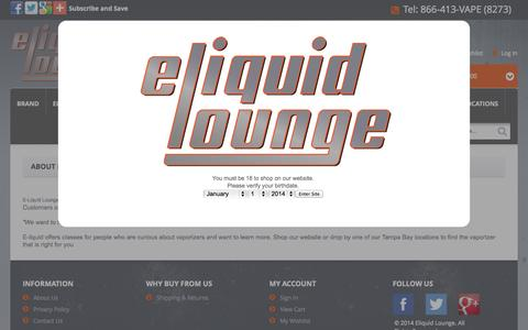 Screenshot of About Page eliquidlounge.com - About | Eliquid Lounge | ECig St Petersburg FL | Electronic Cigarettes - captured Sept. 26, 2014