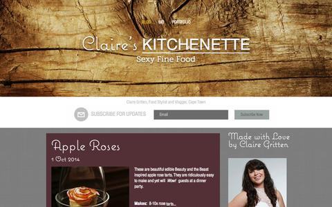 Screenshot of Home Page gritten.co.za - Claire Gritten Food Stylist Cape Town - captured Oct. 2, 2014