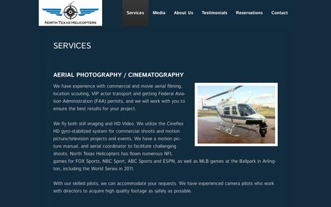 Screenshot of Services Page ntheli.com - Services - North Texas Helicopters - captured Feb. 15, 2016
