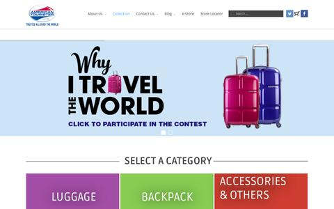 Screenshot of Home Page americantourister.in - Home - American Tourister India - captured Feb. 16, 2016
