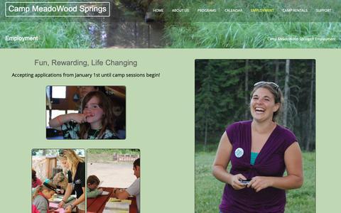 Screenshot of Jobs Page meadowoodsprings.org - Employment – Camp MeadoWood Springs - captured Oct. 17, 2018