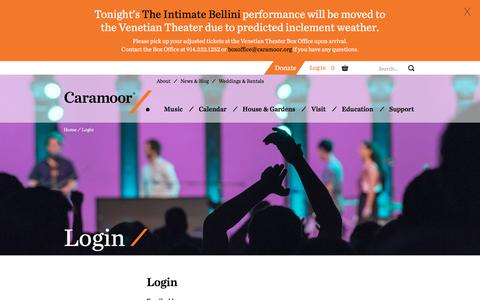 Screenshot of Login Page caramoor.org - Login to your account | Caramoor - captured July 14, 2017