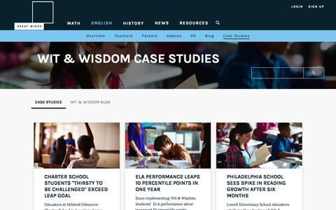 Screenshot of Case Studies Page greatminds.org - Great Minds - Case Studies - captured July 20, 2018
