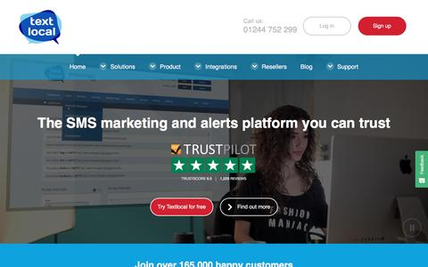 Screenshot of Home Page textlocal.com - Textlocal: Bulk SMS Marketing Service for Business | Send SMS Online - captured March 13, 2018