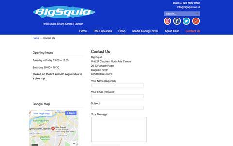 Screenshot of Contact Page bigsquid.co.uk - Contact Us – Big Squid - captured Aug. 5, 2018