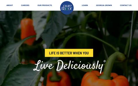 Screenshot of Home Page pure-flavor.com - Greenhouse-Grown Vegetables | Pure Flavor | Live Deliciously™ - captured June 8, 2019