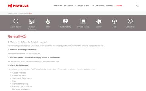 Screenshot of FAQ Page havells.com - Frequently Asked Questions - Havells India - captured Sept. 23, 2019