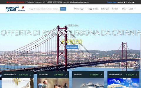 Screenshot of Home Page destinazionesogni.it - Offerte viaggi, vacanze lastminute, prenota la tua vacanza online - captured Feb. 10, 2016