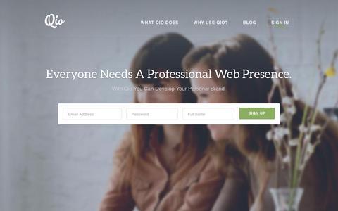 Screenshot of Home Page qio.me - Web Identity Made Easy | Qio - captured Dec. 18, 2019