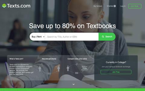 Screenshot of Home Page texts.com - Texts.com — Save hundreds on your textbooks - captured Feb. 11, 2016