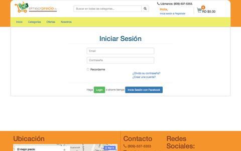 Screenshot of Login Page elmejorprecio.do - Login - El Mejor Precio - captured July 12, 2016