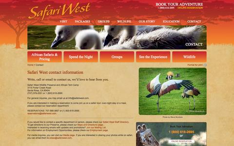 Screenshot of Contact Page safariwest.com - Contact | Safari WestSafari West - captured Sept. 19, 2014