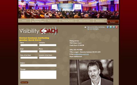 Screenshot of Contact Page visibilitycoach.com - The Visibility Coach - Contact - captured Oct. 9, 2014
