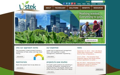 Screenshot of Home Page lystek.com - Experts in Biosolids and Wastewater Treatment | Lystek - captured Oct. 3, 2014