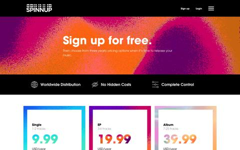 Screenshot of Pricing Page spinnup.com - Pricing for Spinnup's Music Distribution services | Spinnup - captured Nov. 26, 2019