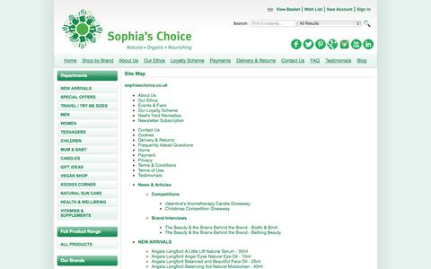 Screenshot of Site Map Page sophiaschoice.co.uk - Site Map - captured Oct. 1, 2014