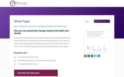 Screenshot of Landing Page nthrive.com - A Holistic Approach to Claim Denials Management - captured April 9, 2018