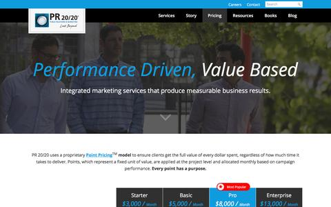 Screenshot of Pricing Page pr2020.com - Inbound Marketing Plans & Pricing | PR 20/20 - captured Dec. 13, 2015