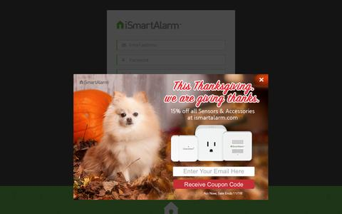 Screenshot of Signup Page ismartalarm.com - iSmartAlarm - Registration - captured Nov. 16, 2016