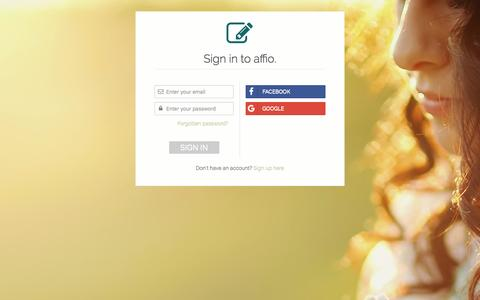 Screenshot of Login Page affio.co.uk - affio | Make your will online - captured July 27, 2016