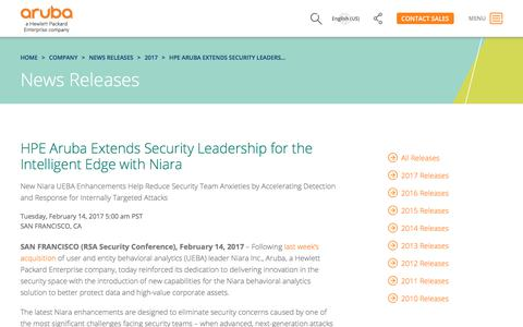 Screenshot of Press Page arubanetworks.com - HPE Aruba Extends Security Leadership for the Intelligent Edge with Niara   Aruba Networks Newsroom - captured Oct. 25, 2017