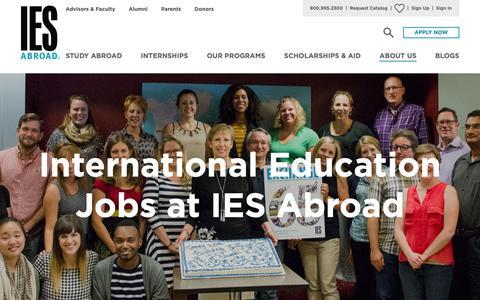Screenshot of Jobs Page iesabroad.org - International Education Jobs | IES Abroad - captured Feb. 9, 2019