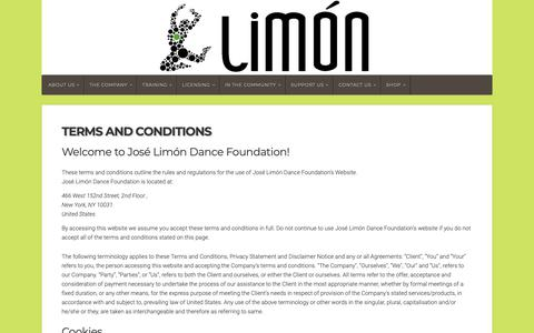 Screenshot of Terms Page limon.org - Terms and Conditions - Limón - captured Nov. 14, 2018