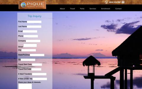Screenshot of Contact Page piquetravel.com - Travel Agency Mn | United States | Pique Travel Design | Plan a Trip - captured Sept. 28, 2018