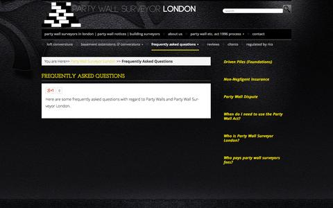 Screenshot of FAQ Page partywallsurveyor-london.co.uk - Frequently Asked Questions - Party Wall Surveyor - London - captured Oct. 1, 2014