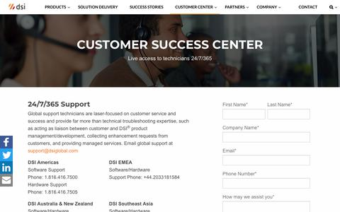 Screenshot of Support Page dsiglobal.com - Customer Success Center — DSI - captured July 27, 2018