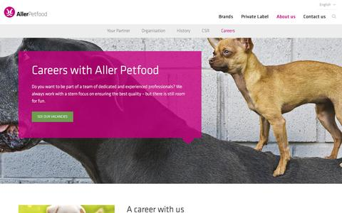 Screenshot of Jobs Page aller-petfood.com - A career with Aller Petfood is your opportunity for personal development - captured Nov. 20, 2016