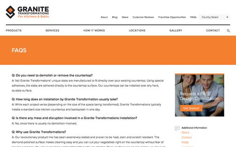 Screenshot of FAQ Page granitetransformations.com - Granite Transformations - Frequently Asked Questions - captured Nov. 11, 2016