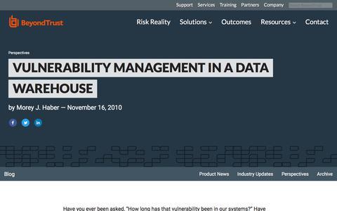 Screenshot of Team Page beyondtrust.com - Vulnerability Management in a Data Warehouse | BeyondTrust - captured Jan. 3, 2020