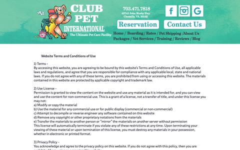 Screenshot of Terms Page clubpet.com - Terms and Conditions of Use - captured Sept. 28, 2018