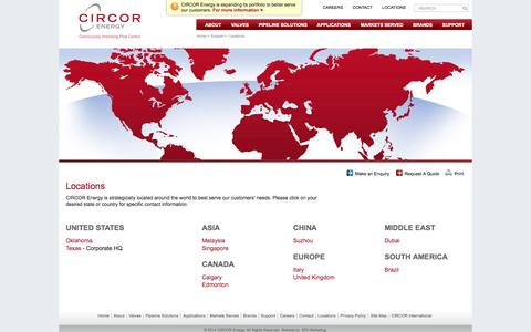 Screenshot of Locations Page circorenergy.com - Locations - CIRCOR Energy - captured Oct. 10, 2014