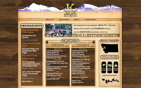 Screenshot of Home Page kettlehouse.com - Home - KettleHouse Brewing Company - captured Oct. 8, 2015