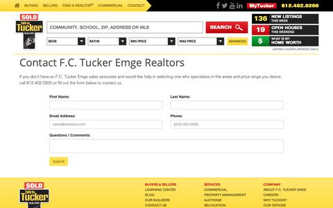 Screenshot of Contact Page fctuckeremge.com - Contact F.C. Tucker Emge Realtors - captured Oct. 2, 2018