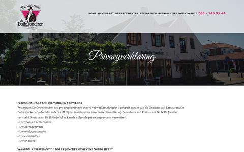 Screenshot of Privacy Page dollejoncker.nl - De Dolle Joncker - Restaurant in Nijkerk - Contact - captured Oct. 18, 2018