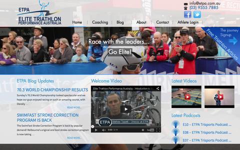 Screenshot of Home Page etpa.com.au - Home - Ironman Coaching | Triathlon and Multisport Athletes Melbourne - captured Sept. 6, 2015