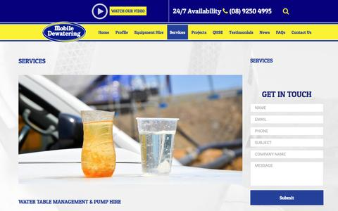 Screenshot of Services Page mobiledewatering.com.au - Services | Mobile Dewatering - captured Dec. 6, 2016
