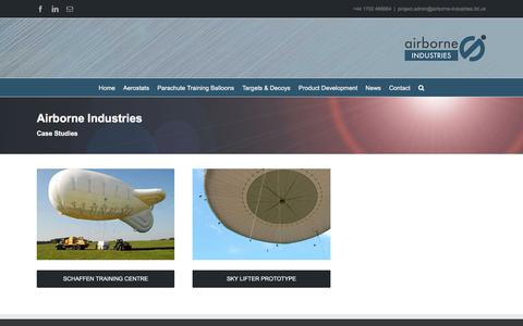 Screenshot of Case Studies Page airborne-industries.ltd.uk - Case Studies | Product Development and Products | Airborne Industries - captured Oct. 7, 2017
