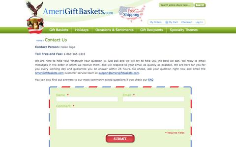 Screenshot of Contact Page amerigiftbaskets.com - Contact Us - captured Sept. 30, 2014
