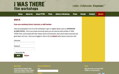 Screenshot of Login Page iwastherefilms.org - Sign In - I Was There Films - captured Oct. 2, 2014