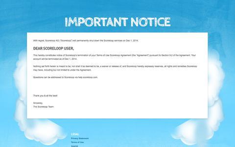 Screenshot of Developers Page scoreloop.com - Scoreloop : Termination Notice - captured Sept. 17, 2014