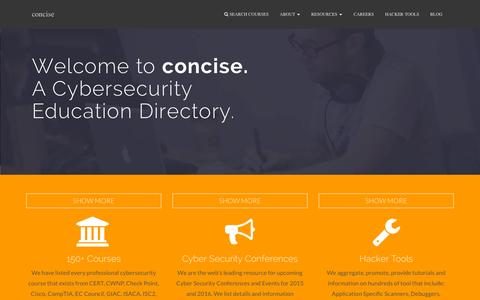 Screenshot of Home Page concise-courses.com - Concise Courses Information Security/ Cyber Security Training Certification Search Directory. Offering dozens of free continuing education courses in the USA and UK - captured Sept. 23, 2015