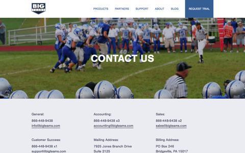 Screenshot of Contact Page bigteams.com - Big Teams - captured Dec. 3, 2015