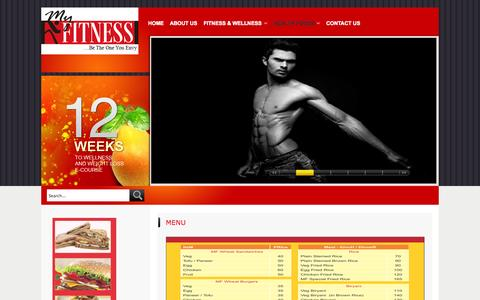 Screenshot of Menu Page myfitness.co.in - Menu - captured Sept. 30, 2014